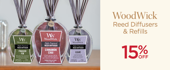 WoodWick  - Reed Diffusers & Refills - 15 Percent OFF