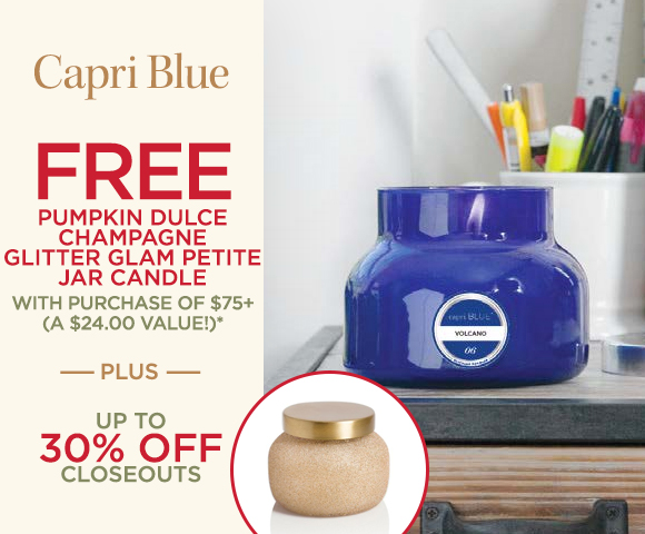 Capri Blue - FREE Pumpkin Dulce Champagne Glitter Glam Petite Jar Candle with Purchase of $75+ - A $24.00 Value* - Plus 30 Percent OFF Closeouts