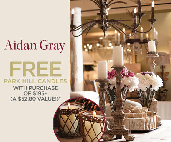 Aidan Gray - Free Park Hill Candles with Purchase of $195+ - A $52.80 Value