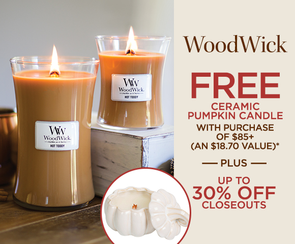 WoodWick - FREE Ceramic Pumpkin Candle with Purchase of $85+ - An $18.70 Value - Plus Up To 30 Percent OFF Closeouts