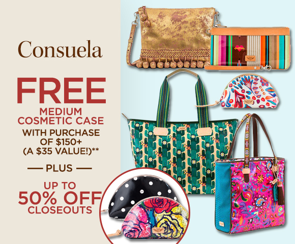 Consuela - FREE Medium Cosmetic Case with Purchase of $150+ A $35.00 Value - Plus Up to 50 Percent OFF Closeouts