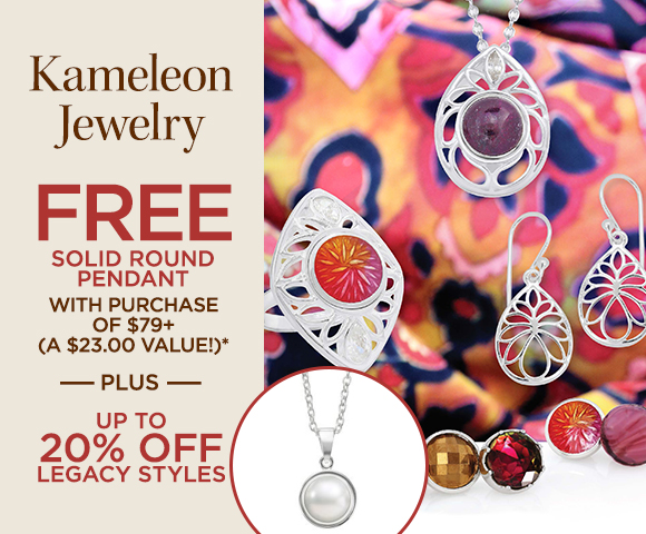 Kameleon Jewelry - FREE Solid Round Pendant with Purchase of $79+ - A $23.00 Value - Plus Up to 20 Percent OFF Legacy Styles