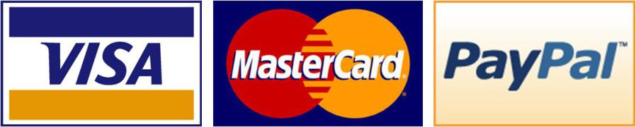We accept MasterCard, Visa, and PayPal