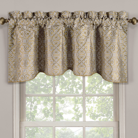 Halifax Scalloped Decorative Rope Embroidered Lined Valance