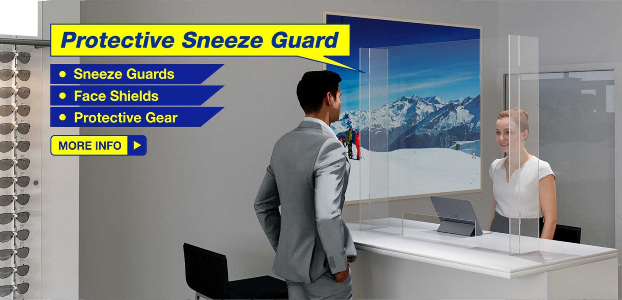 Protective Sneeze Guard for Retail and Office Staff