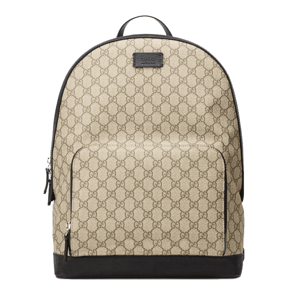 Gucci Signature Leather Backpack in GG Supreme Canvas