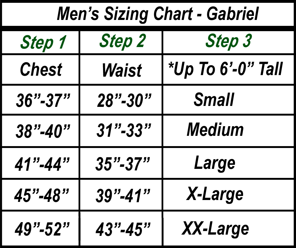 Men's Sizing Chart