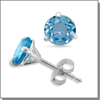 Blue Topaz 3 Prong Stud Earrings at My Love Wedding Ring