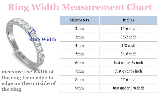 Ring Width Chart to help you find your perfect wedding rings at My Love Wedding Ring
