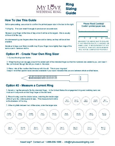 Ring Size Guide Free Ring Sizer My Love Wedding Ring
