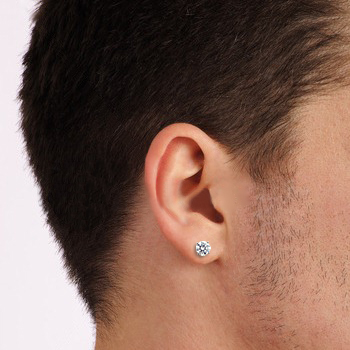 Round Cut Diamond Stud Click On The Total Carat Weight Below To View Earring Sizes Mans Ear