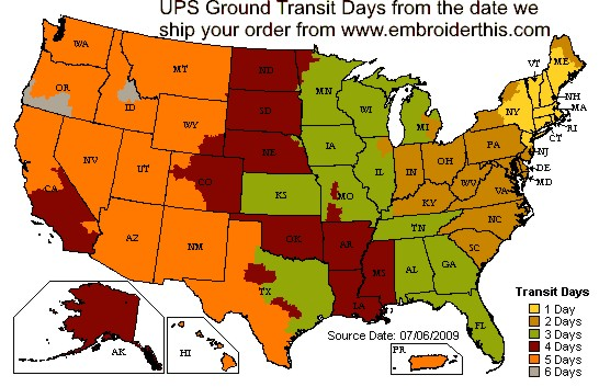 UPS Outbound Map from wholesale-linens.com